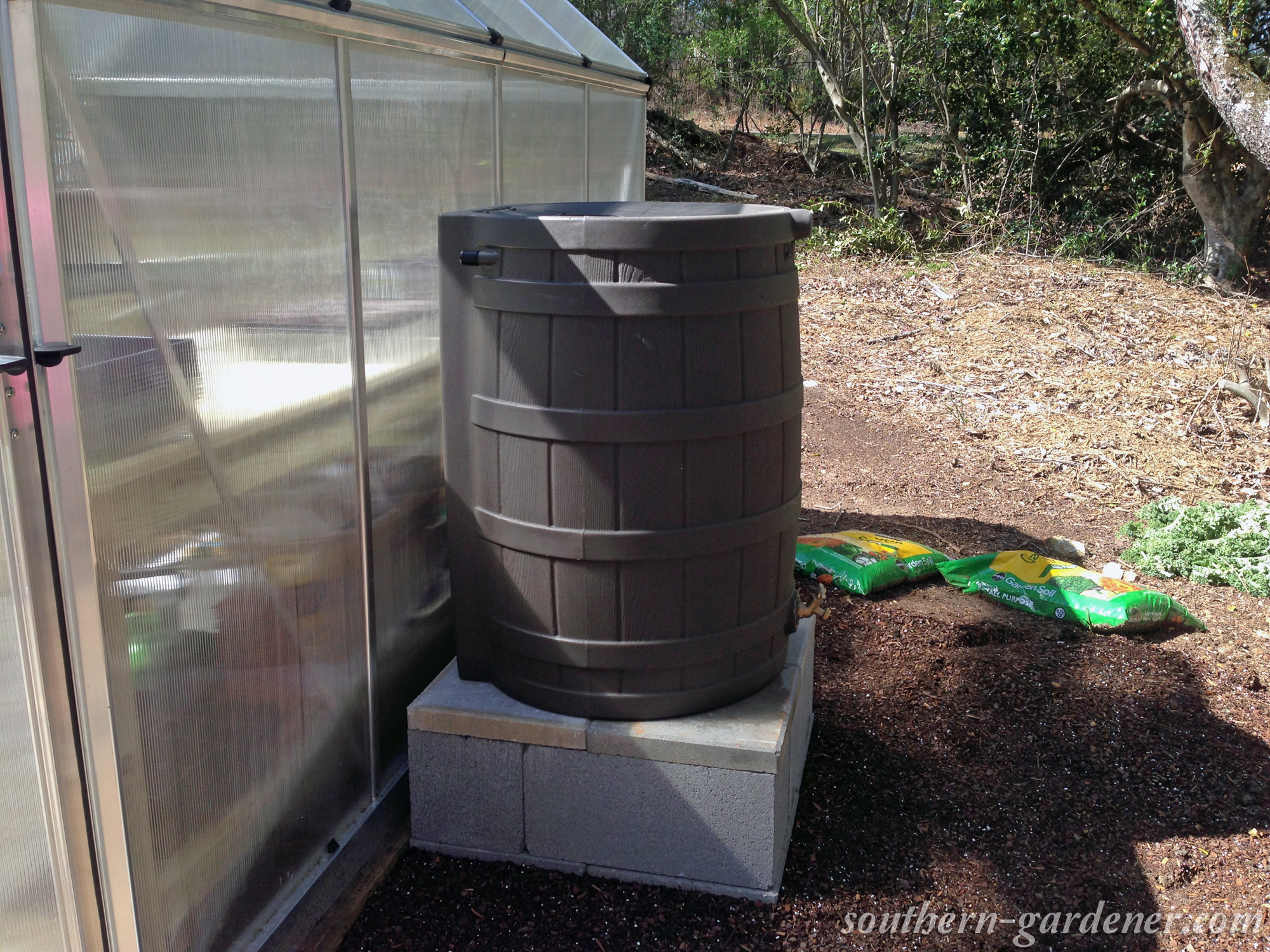 DIY rain barrel stand