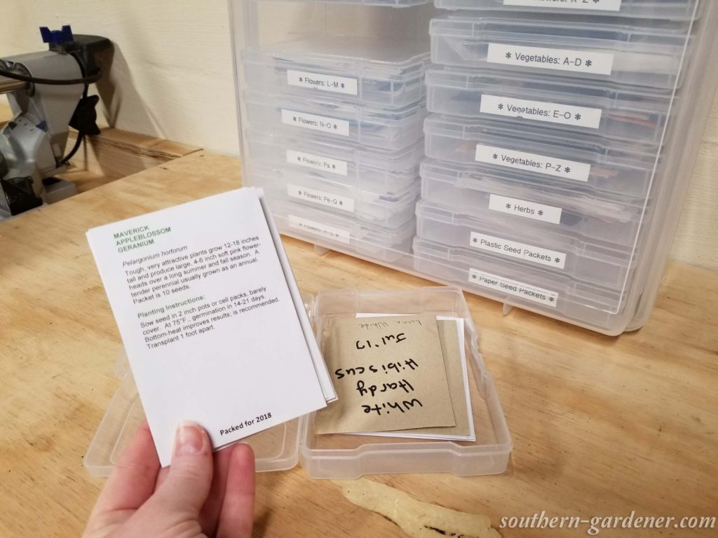 organizing seed collection with photo storage box