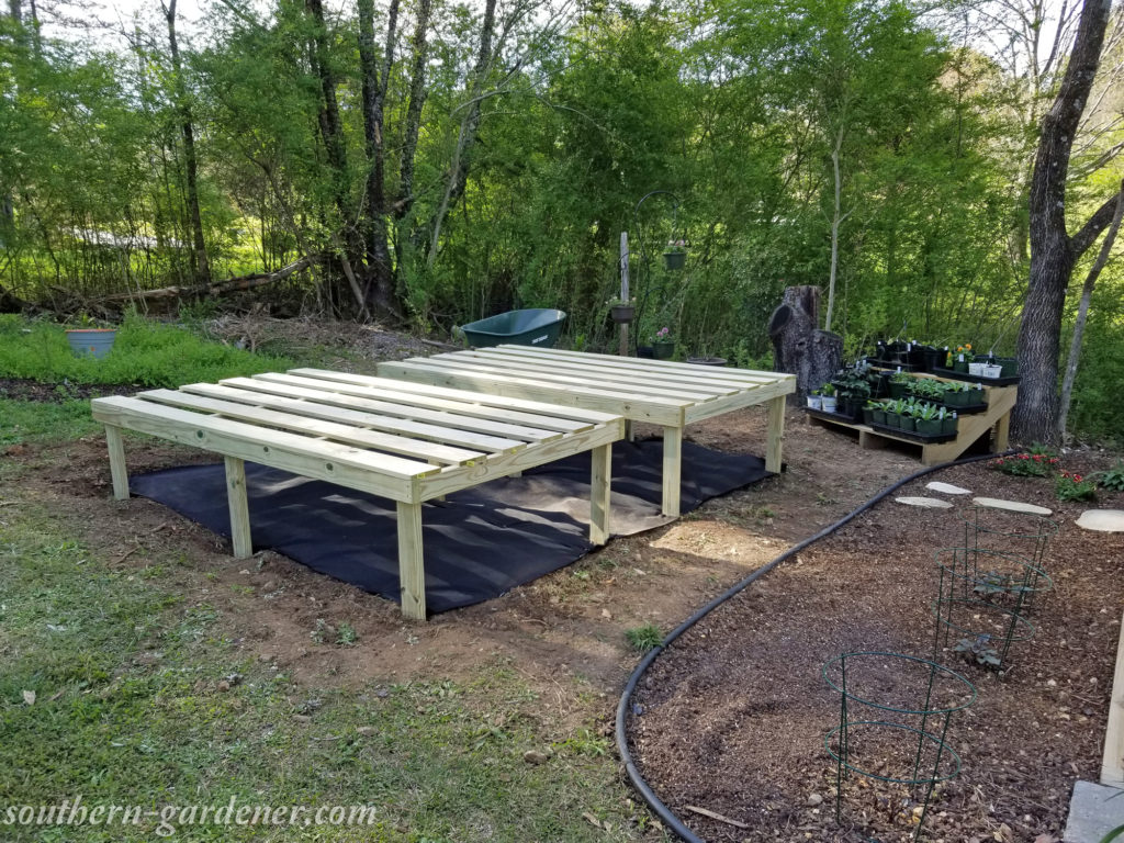 leveling greenhouse display tables