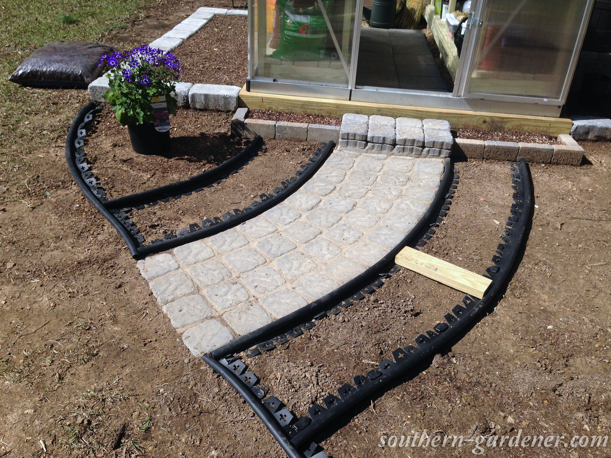 2x4 scrap for measuring flower bed