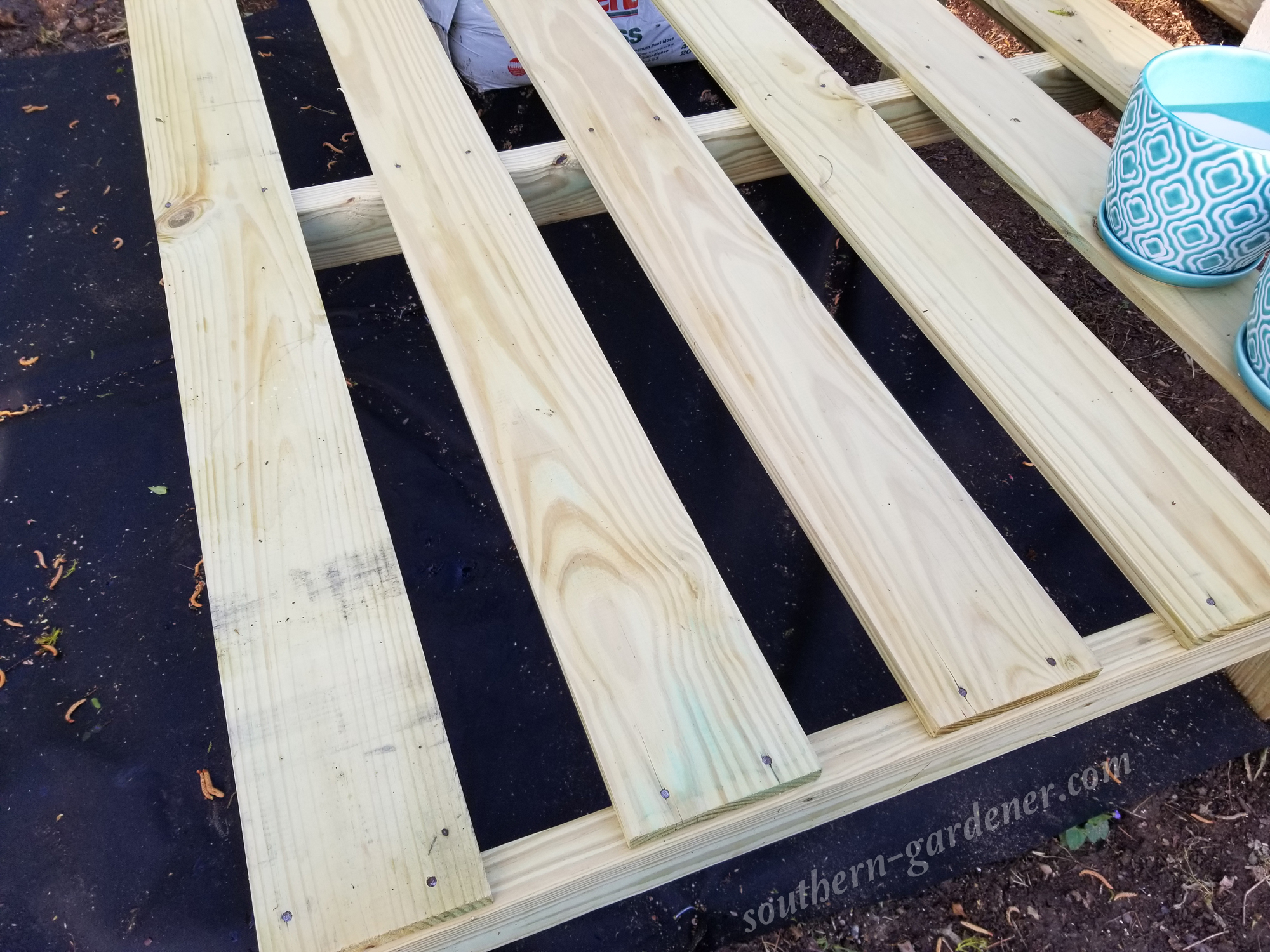 nailed down the 1x6 boards for the top