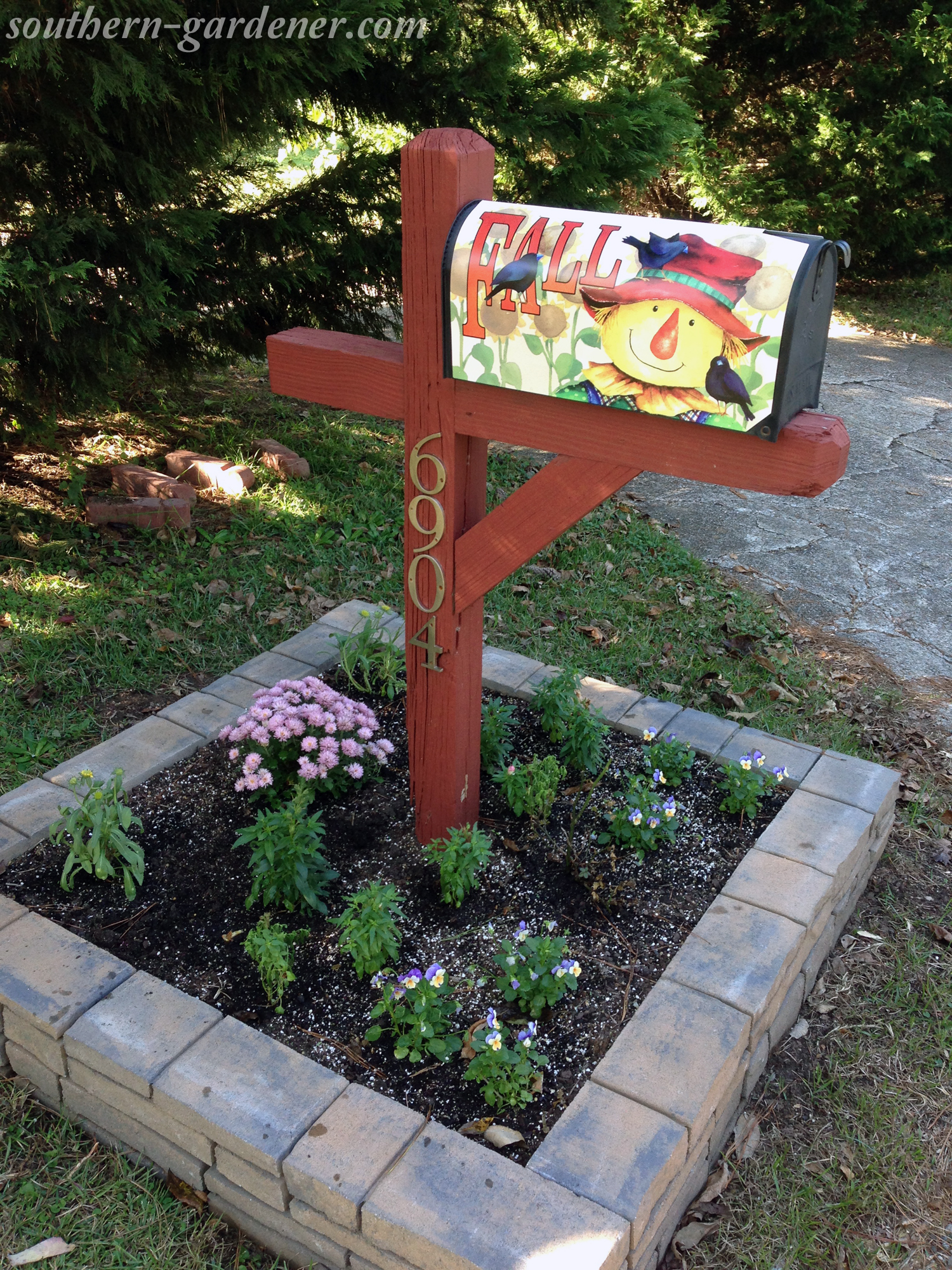 fall mailbox flowerbed